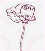 Как сделать красивую розочку из ленты. Шаг 2